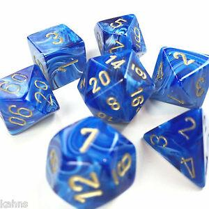 Chessex Dice - Polyhedral - Vortex - Blue w/Gold CHX27436
