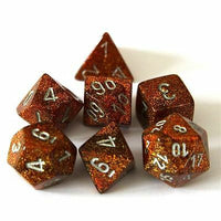 Chessex Dice - Polyhedral - Glitter - Gold w/Silver CHX27503