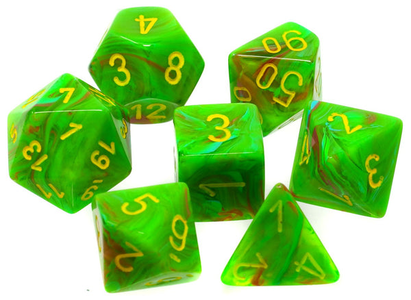Chessex Dice - Polyhedral - Vortex - Slime w/Yellow CHX27515