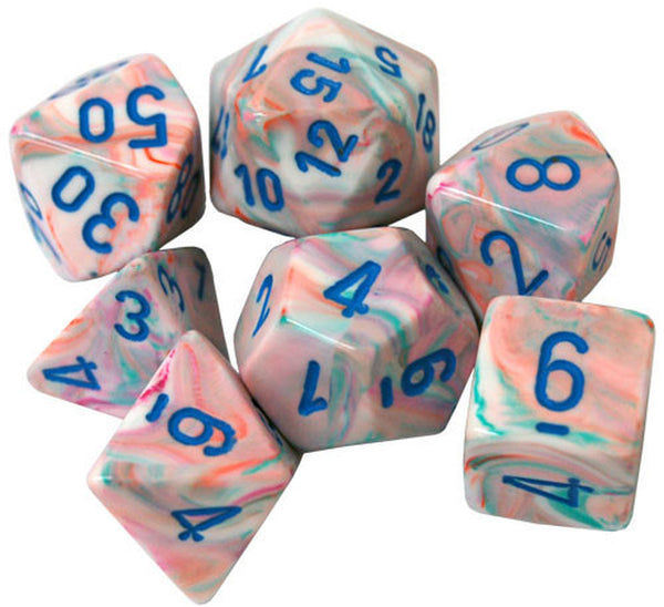 Chessex Dice - Polyhedral - Festive - Pop Art w/Blue CHX27544