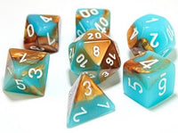 Chessex Dice - Polyhedral - Gemini - Copper-Turquoise w/White CHX30019