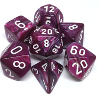 Chessex Dice - Polyhedral - Lustrous - Amethyst w/White CHX30025