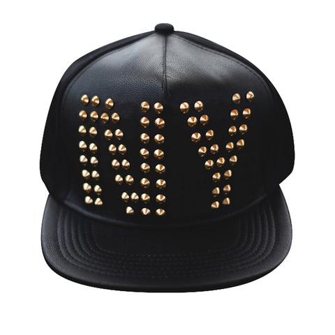 Golden or Black studded NY Baseballcap Hat (Lambskin leather)