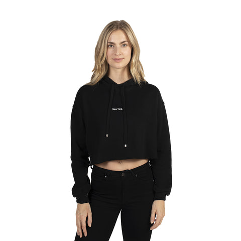 Black New York Crop Hoodie