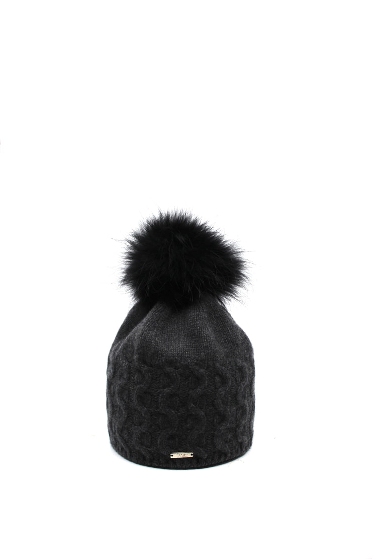 Frost Cashmere Cable Knit Beanie Charcoal Raccoon Pom - Dear Lucy
