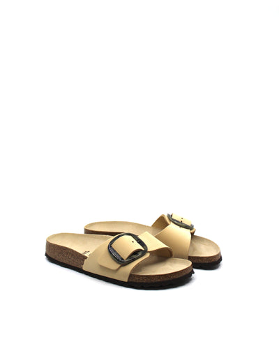 Birkenstock Madrid Big Buckle Almond Nubuck Narrow - Dear Lucy