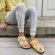 Birkenstock Arizona Shearling Narrow Ochre - Dear Lucy