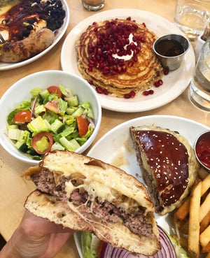 breakfast and lunch pancakes, green salad, pretzel hamburger and fries - best bakery cafe in los angeles