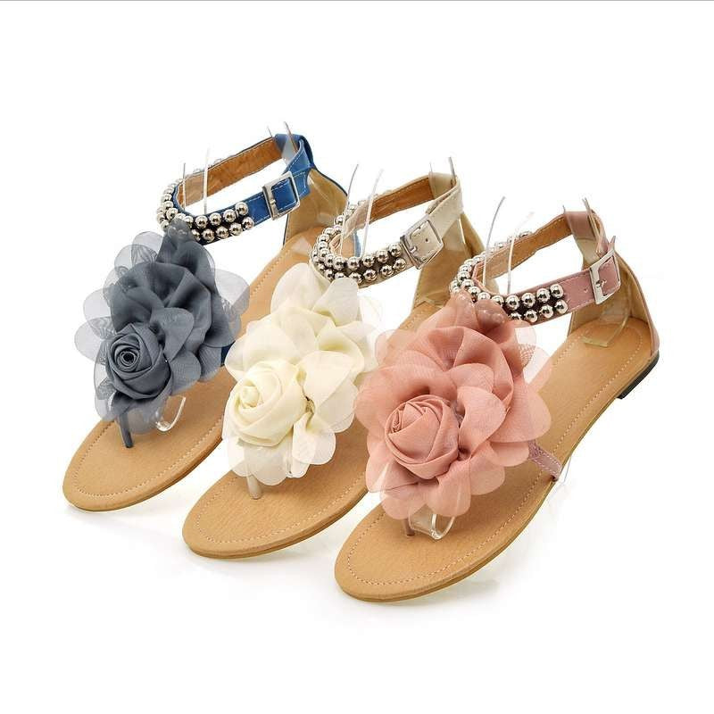 Bohemia Beaded Summer Flower Flat Heels Gladiator Sandals