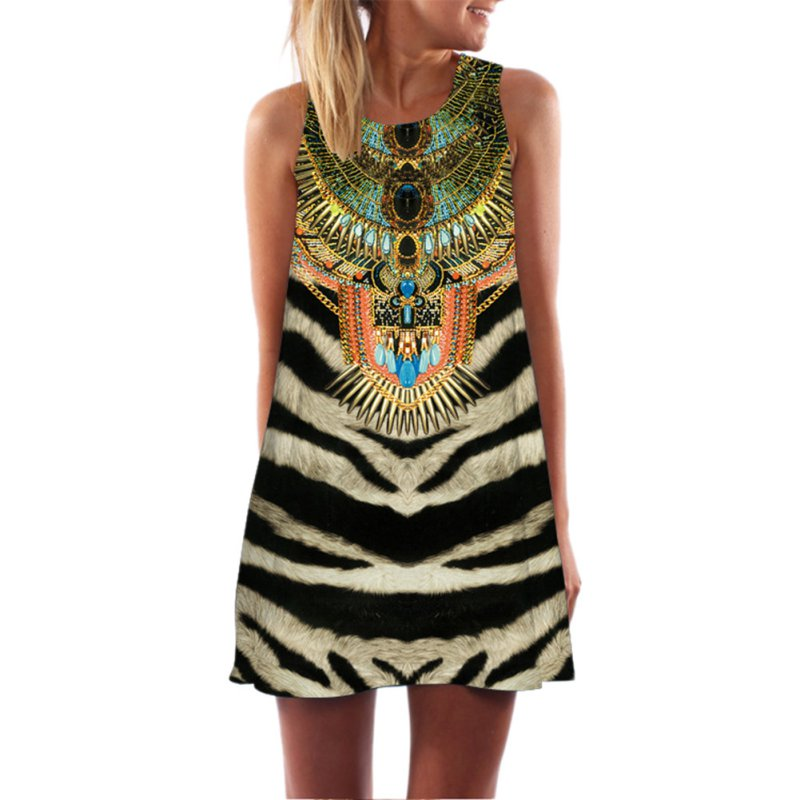 10 Styles Boho Sexy Sleeveless Party Printed Beach Mini Dress