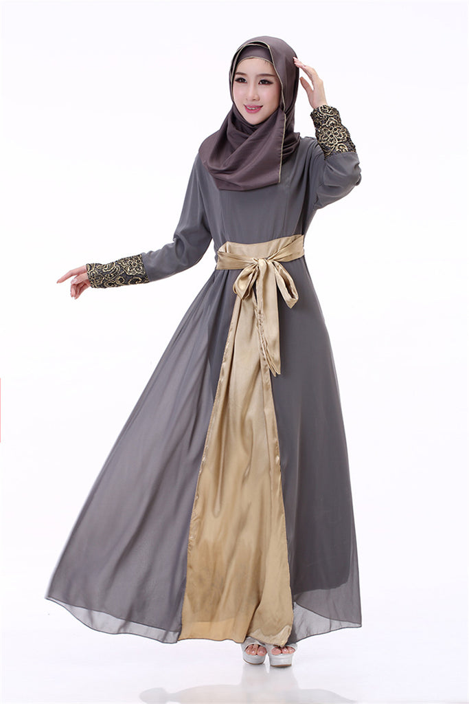 Long Sleeve Lace Ball Gown Vintage Muslim Maxi Dress