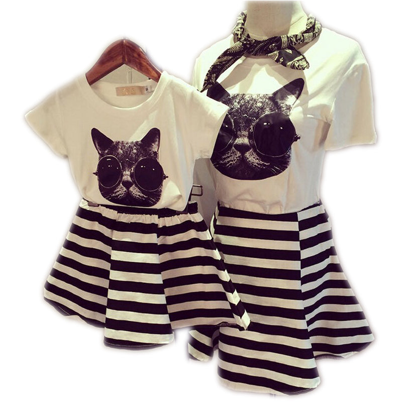 Cotton Short-Sleeve Striped Animal Printed Mother And Daughter Set Dress