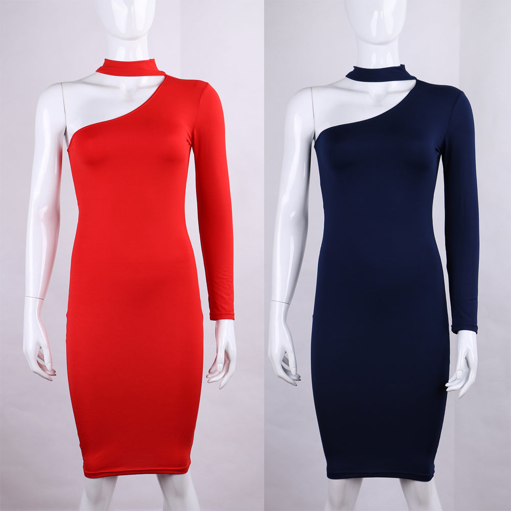 Sexy One Shoulder Halter Long Sleeve Women Pencil Party Dress