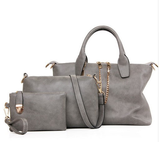 3 Pcs/Set Vintage Top-Handle Nubuck Women Handbags