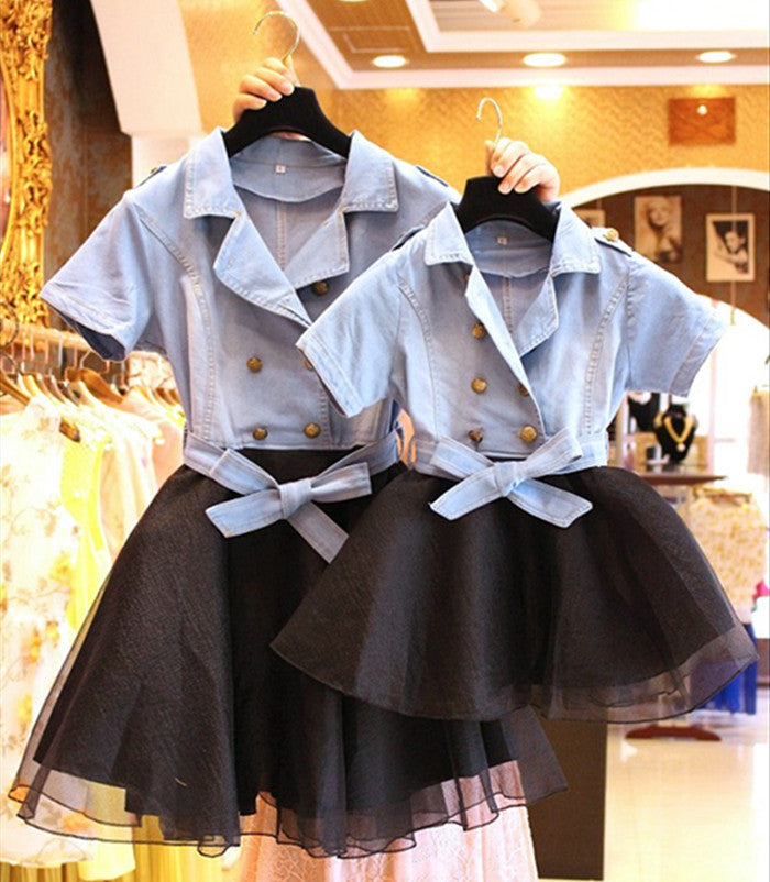 Cute Mother And Daughter Cowboy Splicing Veil Double-Breasted Dress