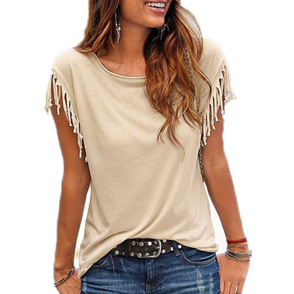 Casual Cotton Tassel O-Neck Short-Sleeved Solid Color Blouse