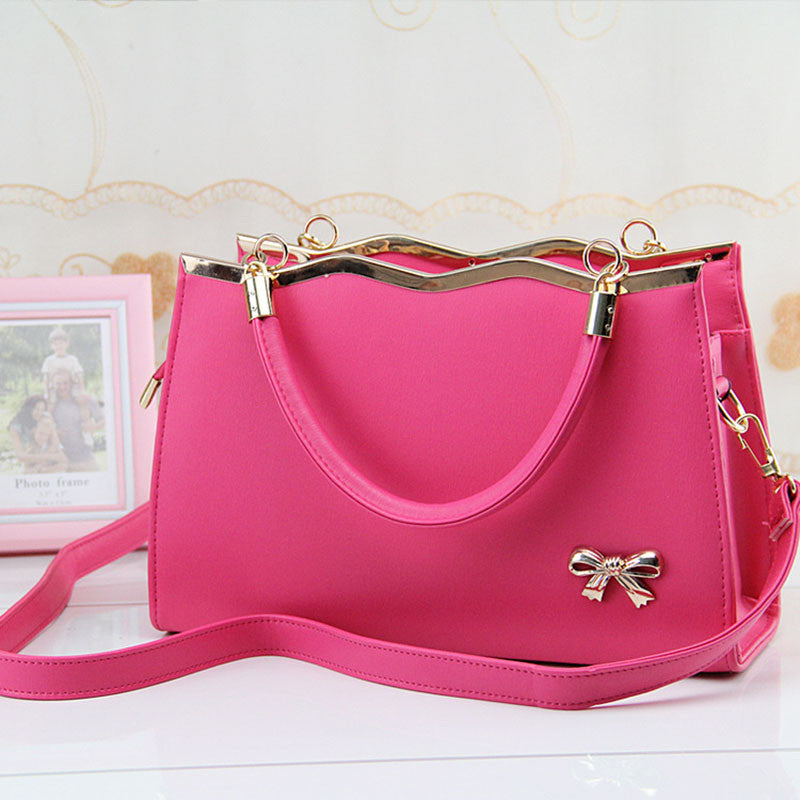 Luxury PU Leather Handbags With Metal Bow Tie