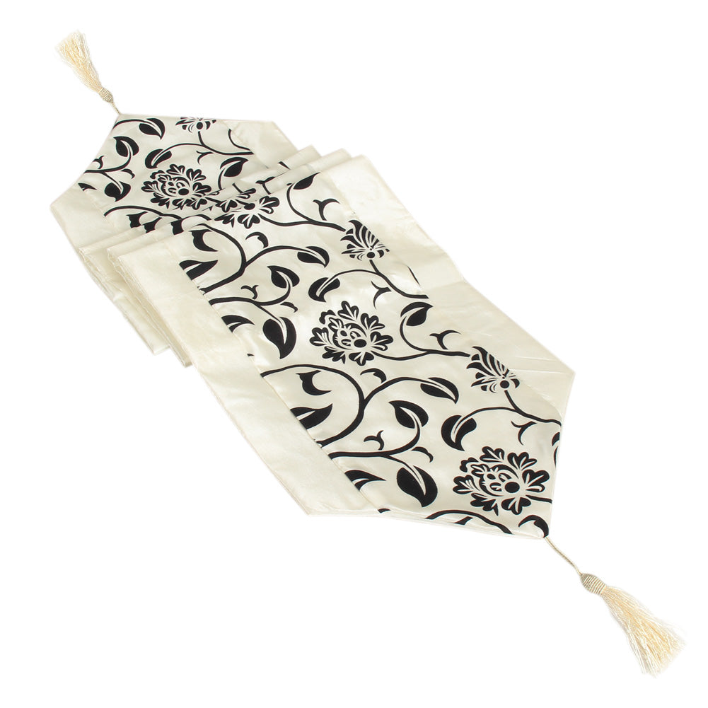 European Pastoral Raised Flower Blossom Flocked Damask Table Runner Cloth