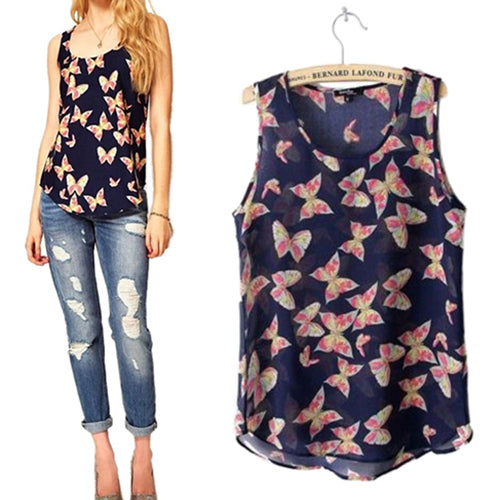 Cute Butterfly Print Sleeveless  Summer Chiffon Blouse
