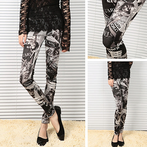 Fashion Punk Newspaper Printed Graffiti Stretchy Skinny Pants