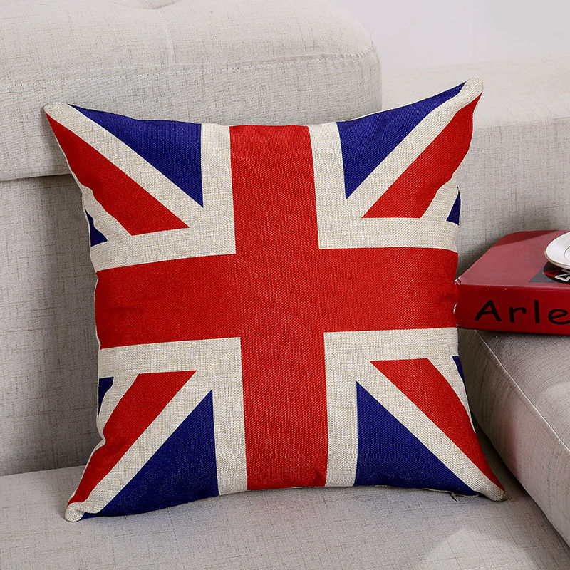 45*45cm Square UK/CA/US/France Flag Print Linen & Cotton Cushion Cover