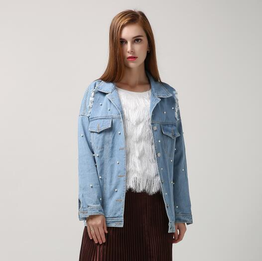 Leisure Pearl Bead Ripped Hole Long Sleeve Vintage Denim Jacket