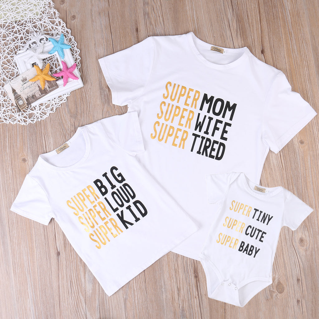 Family Matching Letter Print Summer Short Sleeve Cotton T-shirt
