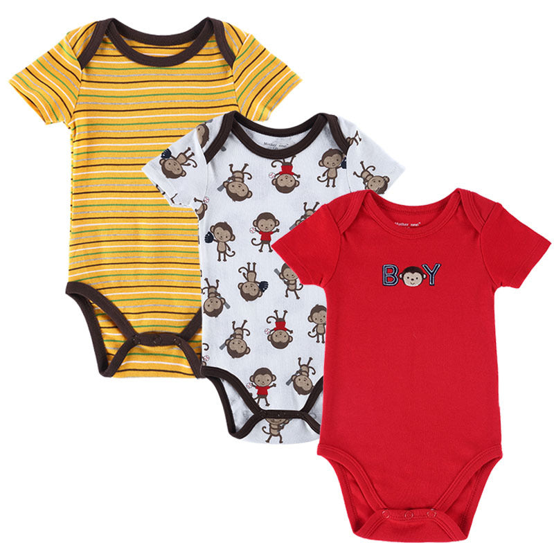 3Pcs Unisex Cotton Short Sleeve Car Printed Baby Rompers