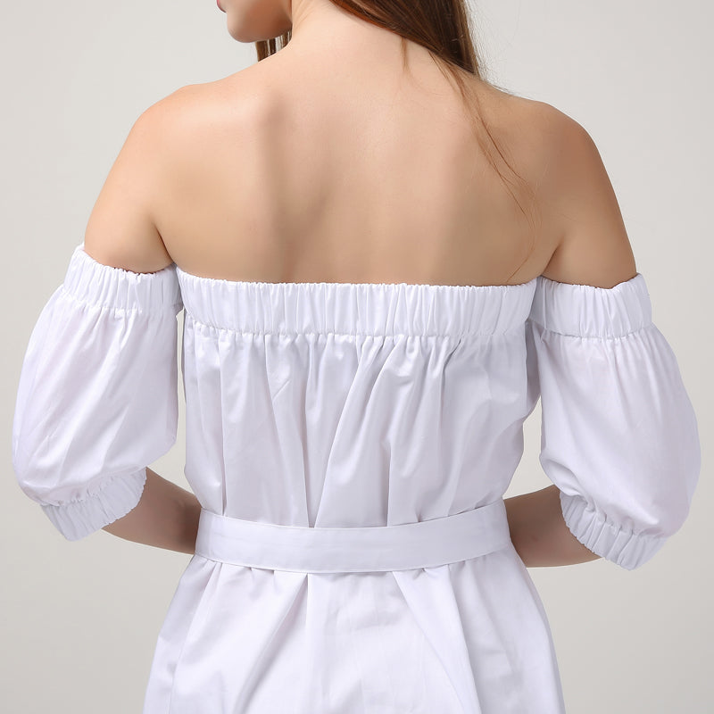 Slash Neck Off Shoulder Sexy Dress With Buttons