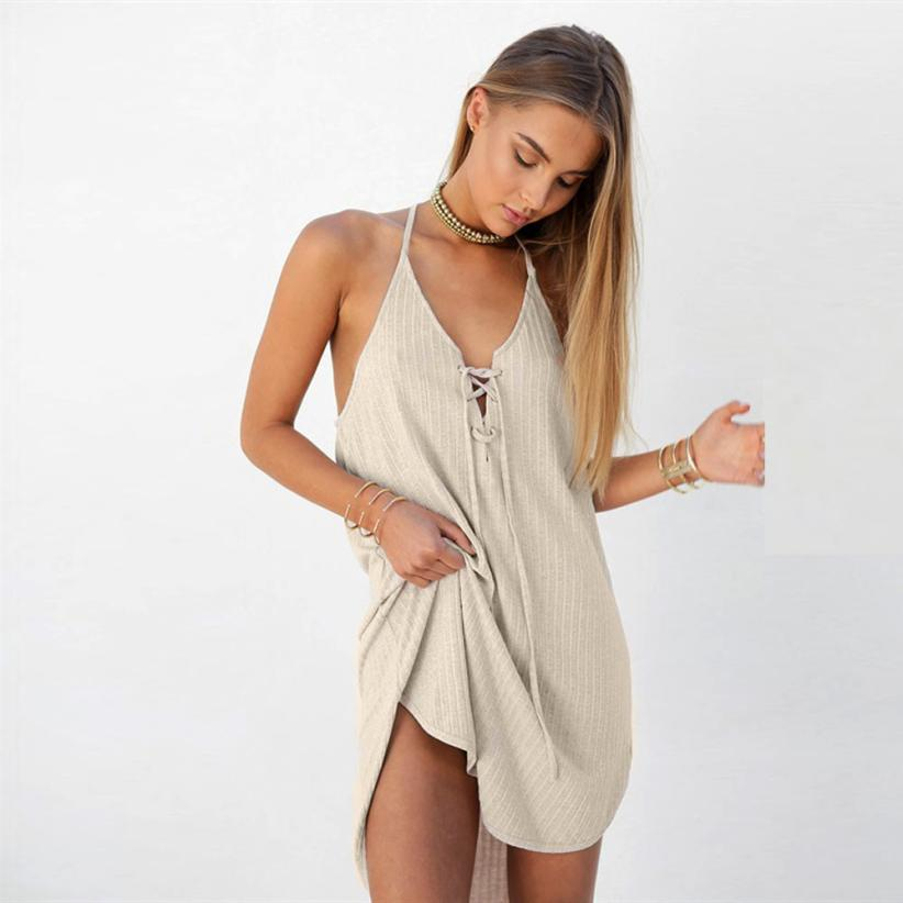 Backless Solid Sleeveless Spaghetti Strap Mini Sundress