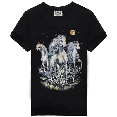 Causal 3D Wolf Printed Short Sleeve Cotton T-shirt