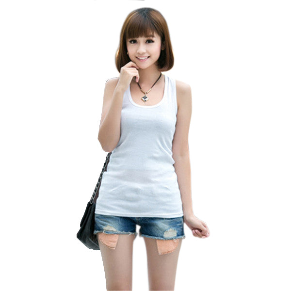 Candy Colors Cotton O-Neck Tight-Fitting Tank Tops