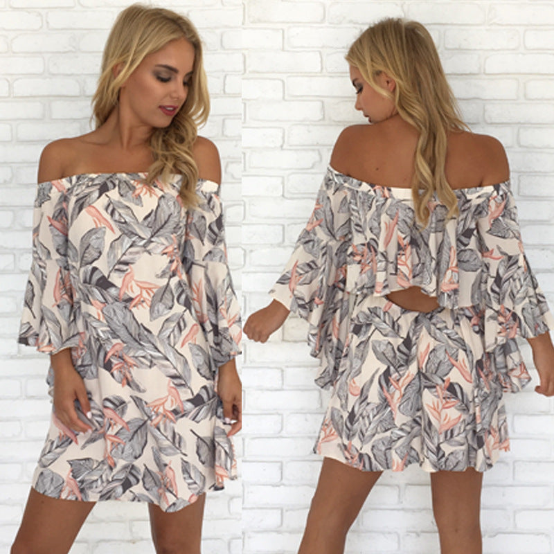 Off The Shoulder Floral Print Flare Sleeve Beach Dress