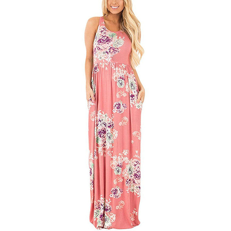 Elegant Floral Print Summer Maxi Dress