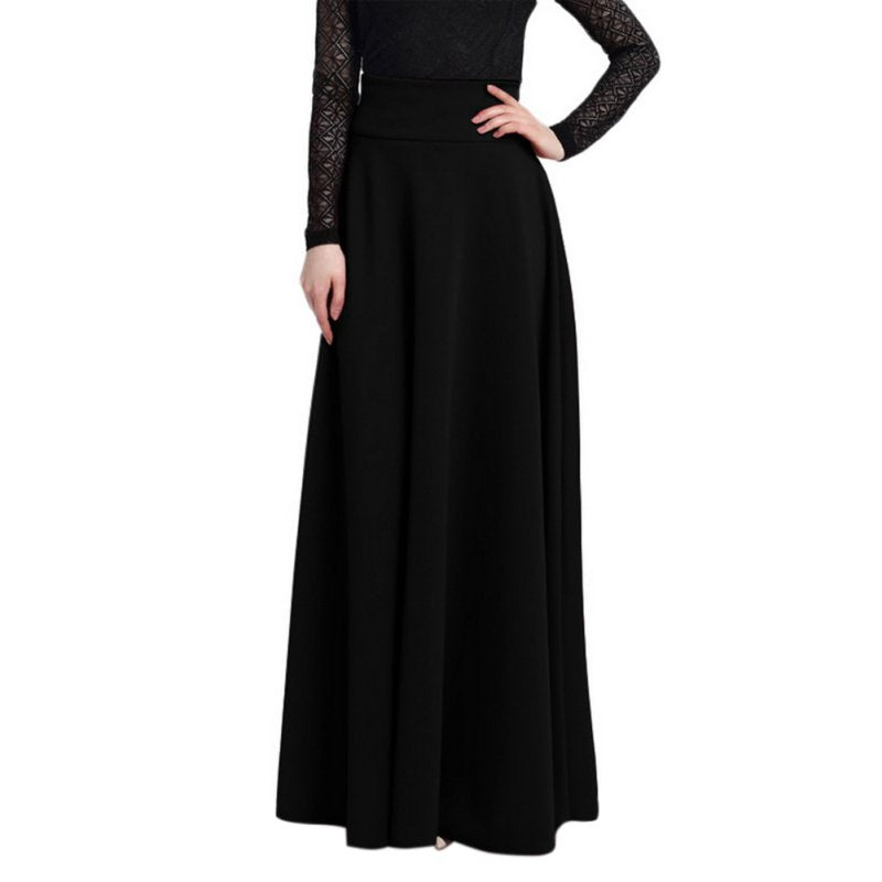 Plus Size High Waist Pleated Solid Color Long Skirt