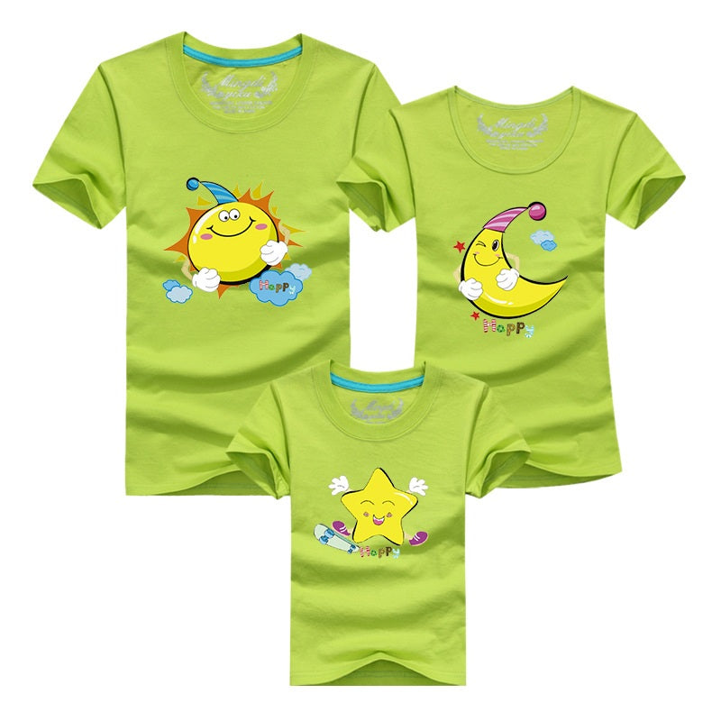Mother Father Baby Outfits Matching High Quality Cotton Short Sleeve Clothe
