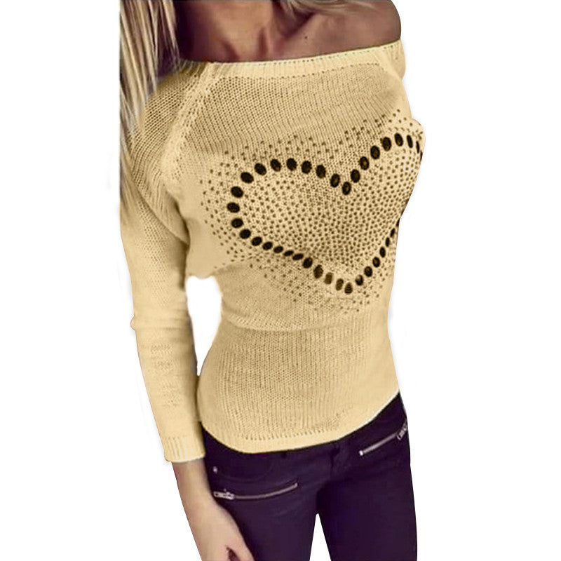 Casual Knitted Loose Heart Pattern Print Crew Neck Long Sleeve Thin Sweater