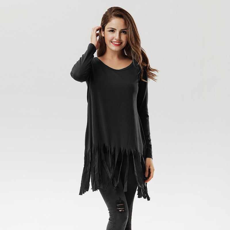 Casual O-Neck Long Sleeve Tassel Hem Dress