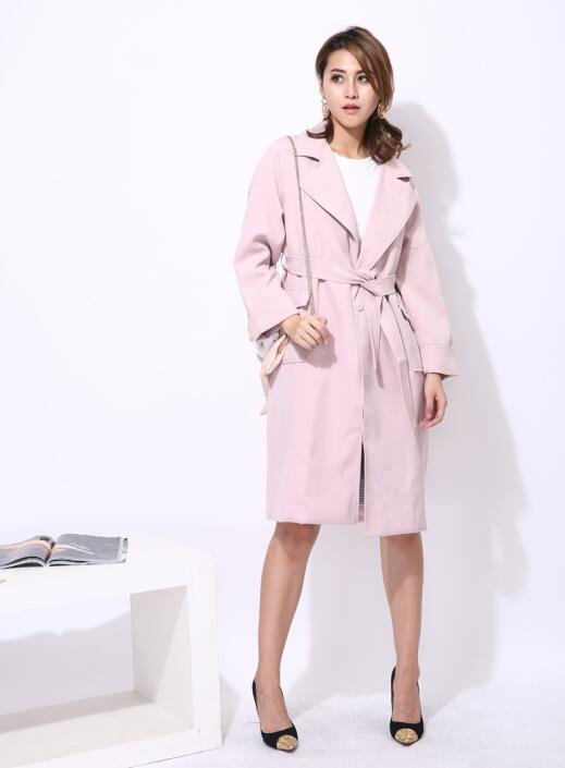 Long Trench Coat with Sash Belt Lace Up