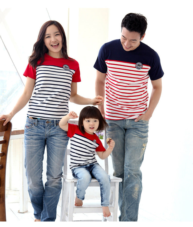 Family Look Outfits Striped Stitching T-shirt Couples Clothes
