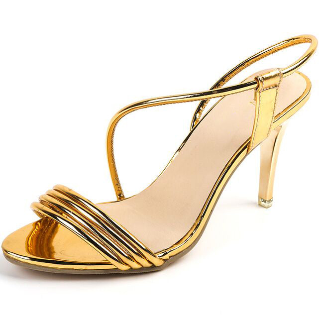 Sexy Simple Golden Silver Side Open Toe High-Heeled Sandals