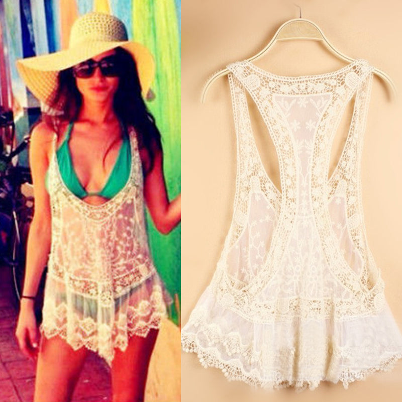 Hollow Out Lace Crochet Beach Cover Up Summer Bikini Dress