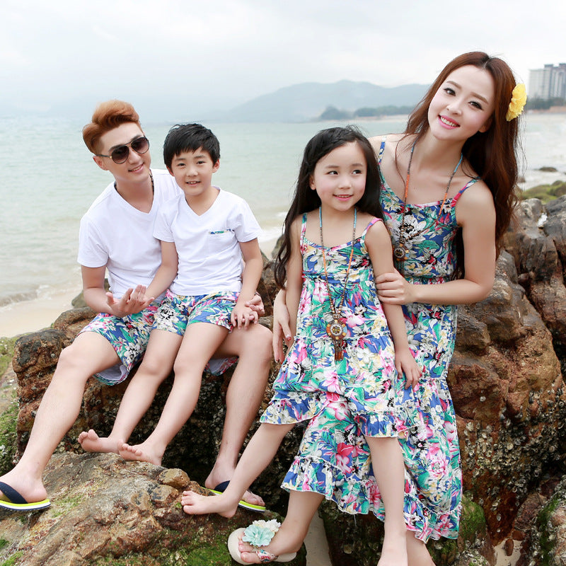 Beach Family Fitted Floral Dress Dad Son T-Shirts + Shorts