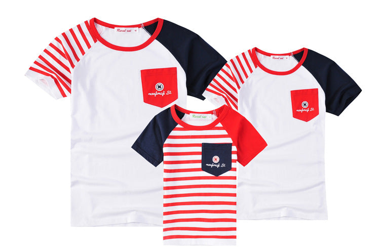 Stripe Cotton T-shirt Family Matching Clothes