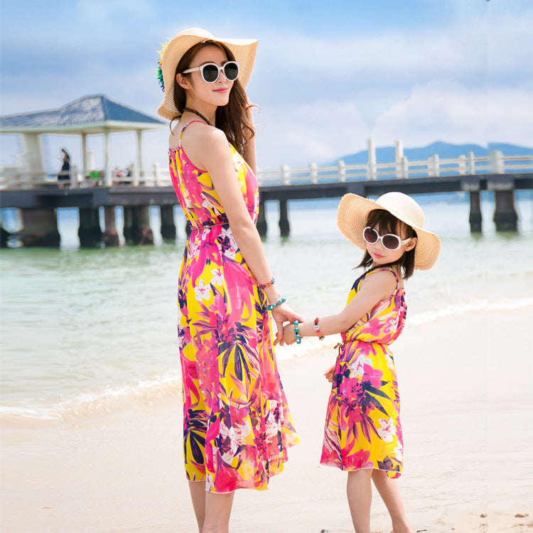 Bohemian Beach Seaside Resort Mother Daughter Dress