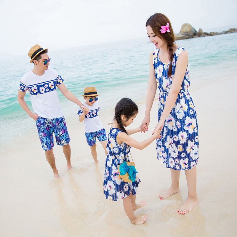 Beachwear Vacation Blue Striped Chiffon Dress Family Matching Clothes