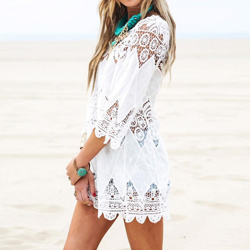 Elegant Half Sleeve Lace Floral Crochet Hollow Out Solid Beach Dress