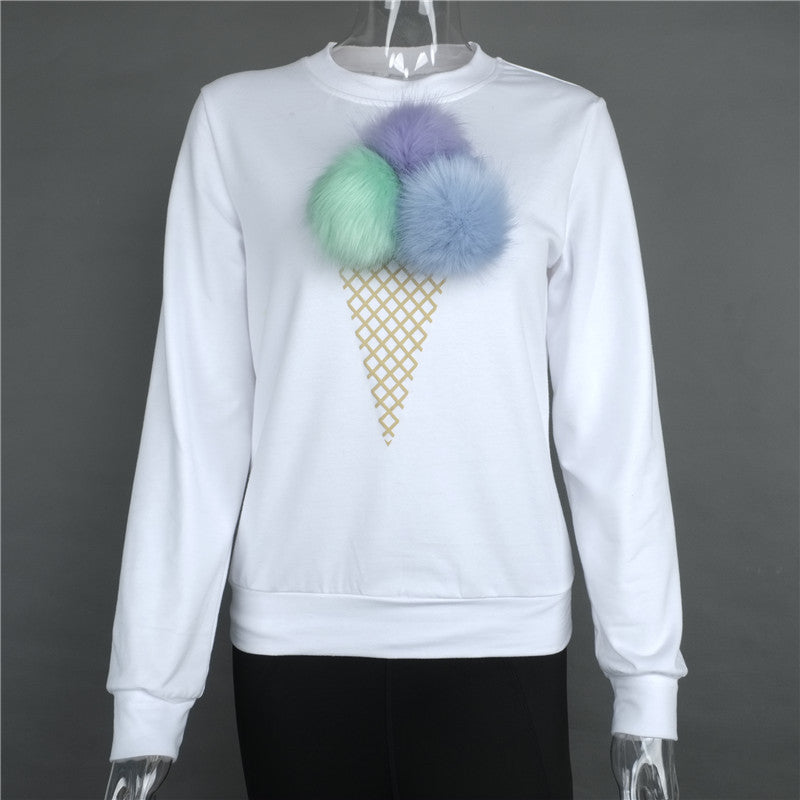 Long Sleeved Ice Cream Fur Ball Pattern Sweater