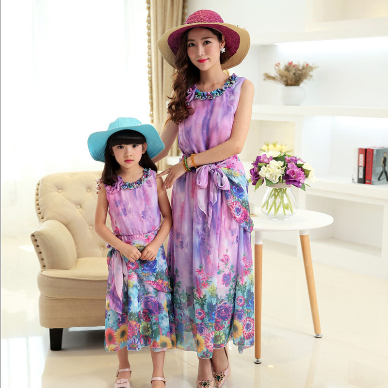 Bohemia Summer Holiday Beach Dress Family