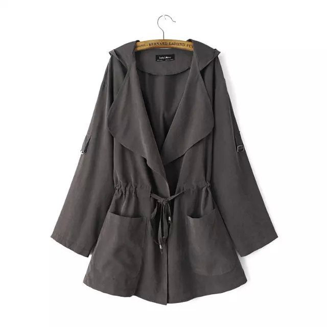 Cute Hooded Open Stitch Long Trench Coat